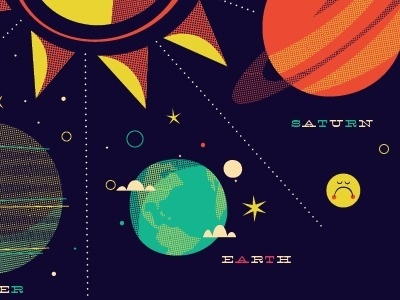 Dribbble - Solar System Tee by Brent Couchman #illustration #stars