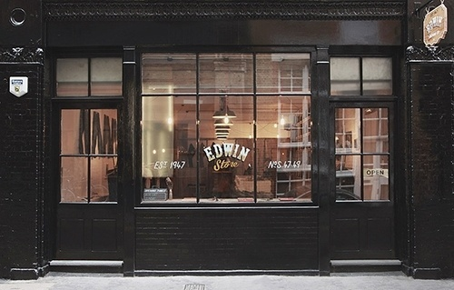 Dope Stuff #lettering #front #shop #painted #store #signage #edwin #hand #typography