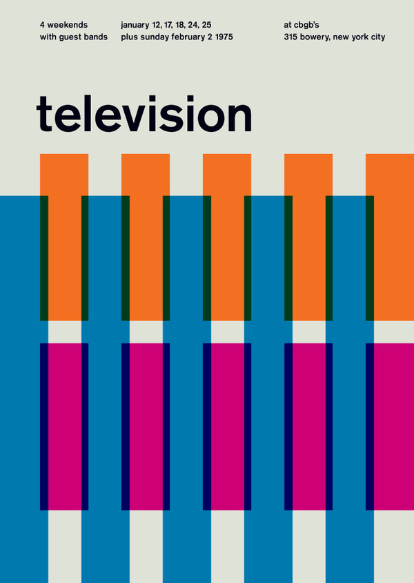 television at cbgb's, 1975 - swissted #minimalism #colors #poster #music #concert