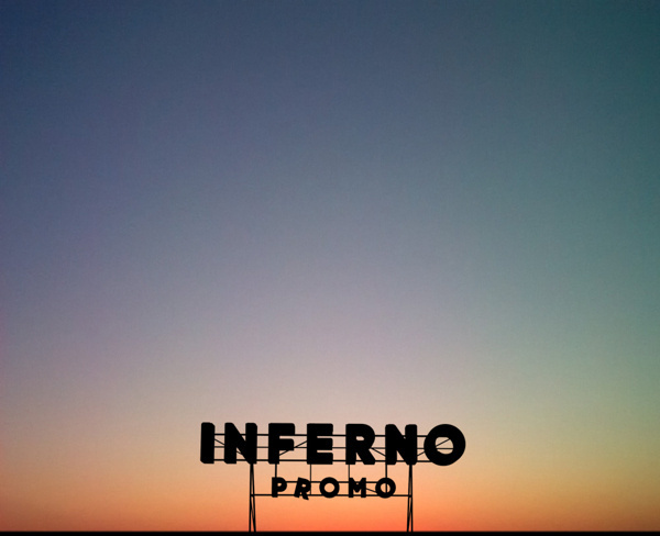 Inferno Identity on Behance #lettering #branding #sky #sign #color #black #identity #sunrise #gradient #shadow #hotel #logo #typography
