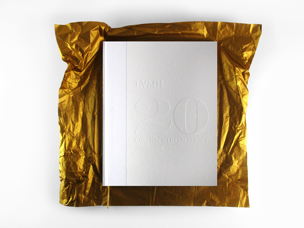 LVMH - 20 years of environment #white #edition #embossed #design #book #cover #photography #gold