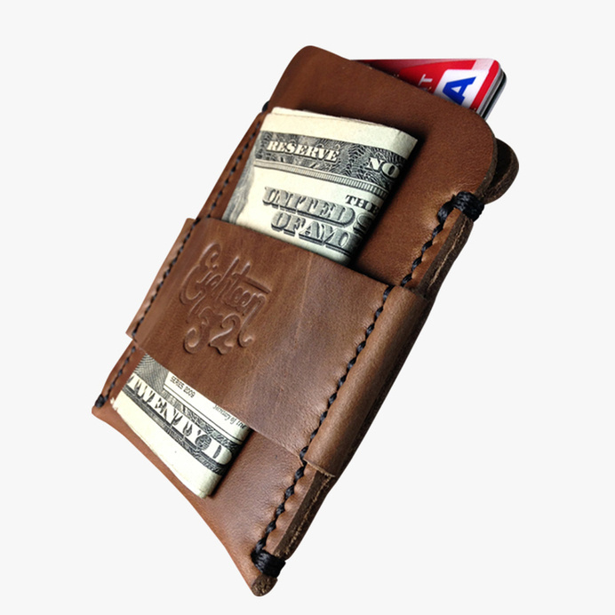 Cardholder - Pecan Leather and Black Stitching — Eighteen32 #wallet #cash #cardholder #leather #horween #money