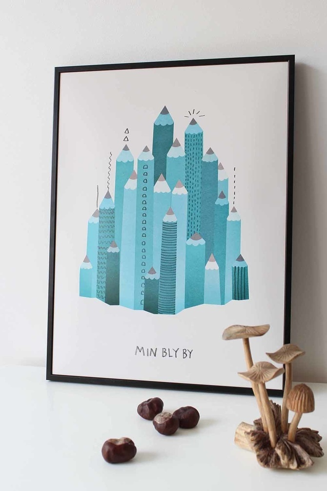#nordic #design #graphic #illustration #danish #bright #simple #nordicliving #living #interior #kids #room #poster #city #houses #town #lead