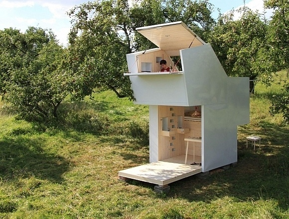 Neither a tiny house nor a treehouse, Arcadia the Spirit Shelter is a furnished backyard hangout for exploration and meditation. The Allergu #tiny #living #homes #architecture #cabins