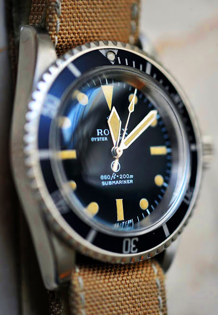 Rolex, watch, canvas strap, submariner, blue, gold, simple, classy, sophistication, tan