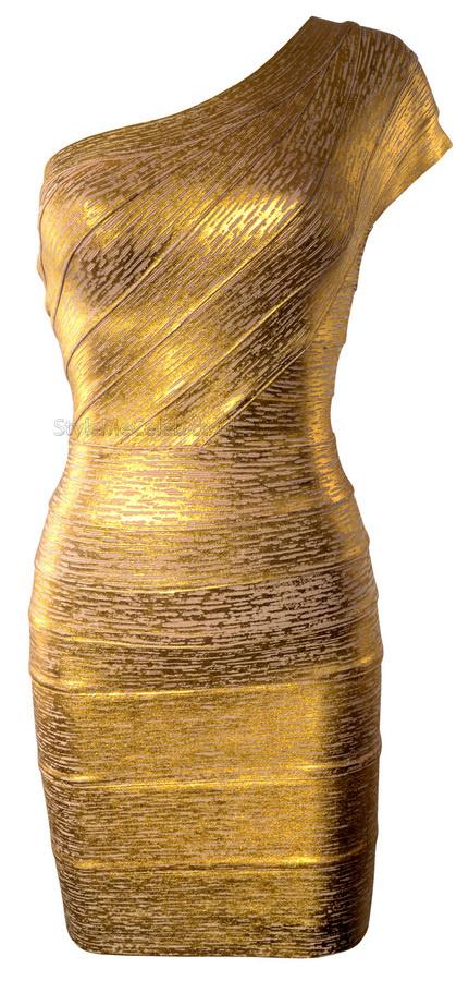 Amy Childs One Shoulder Gold Foil Dress StyleMeCeleb #woman #golden #gold #fashion #dress