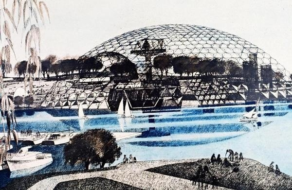 Jan Wampler's plan for the 1976 Expo included a dome on Thompson Island. #rendering #boston #worlds fair
