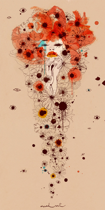Conrad Roset Portfolio: BUENAFUENTE #woman #design #floral #poppies #illustration #daisies #flowers