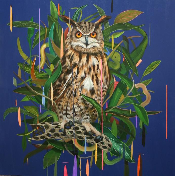 """Mirando al Futuro"" (2015), acrylic on panel, 36″ x 36″ by Frank Gonzales #bird #owl #rain"