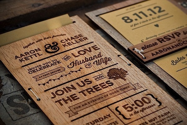 Awesome Wedding Invitations #wood #wedding #invite #typography