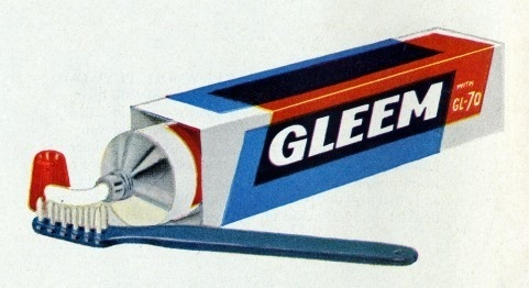 Gleem #red #packaging #color #toothpaste #blue #overlay