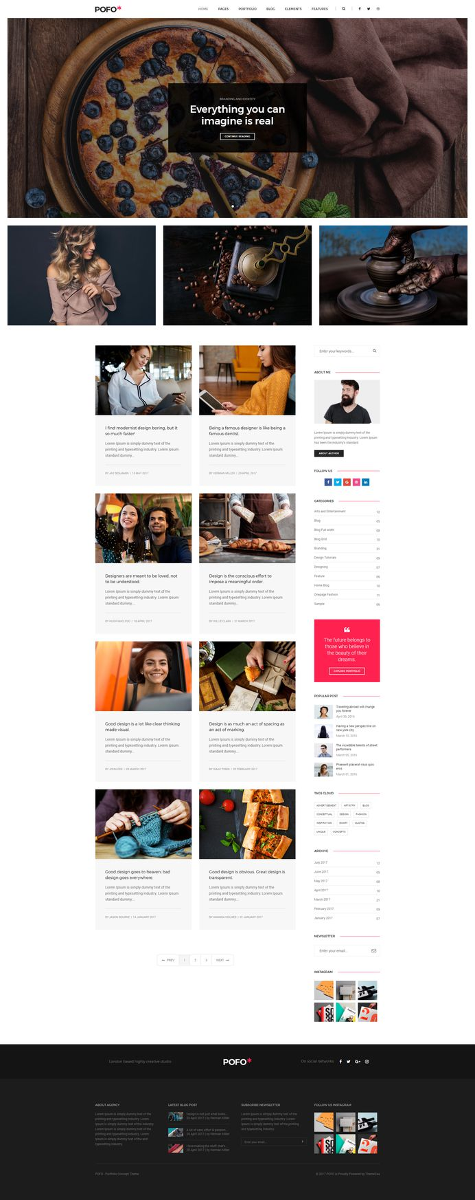 Pofo - #Creative #Portfolio and #Blog #WordPress Theme for Blog #Grid by #ThemeZaa