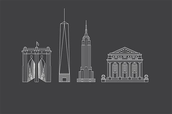Illustrations of landmarks created for the maps. #york #pentagram #city #new
