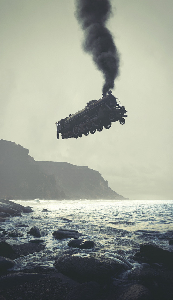 Surreal Digital Illustrations by Tebe Interesno #train #ocean #white #flight #photo #steam #black #floating #sea #manipulation #and #beach #collage #coast