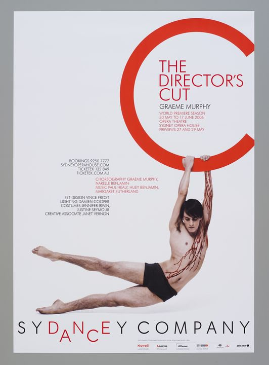 2009/15/4 Poster, 'The Director's Cut' for Sydney Dance Company, off set print on paper, designed by Frost Design, creative director Vince Frost, designers Vince Frost and Caroline Cox, photographer Stephen Ward, dancer Reed Luplau, make-up Amanda Reardon, Surry Hills, New South Wales, Australia, 20. Click to enlarge.