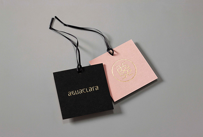 Aguaclara by Infinito #label #print #design #gold #foil #black #pink