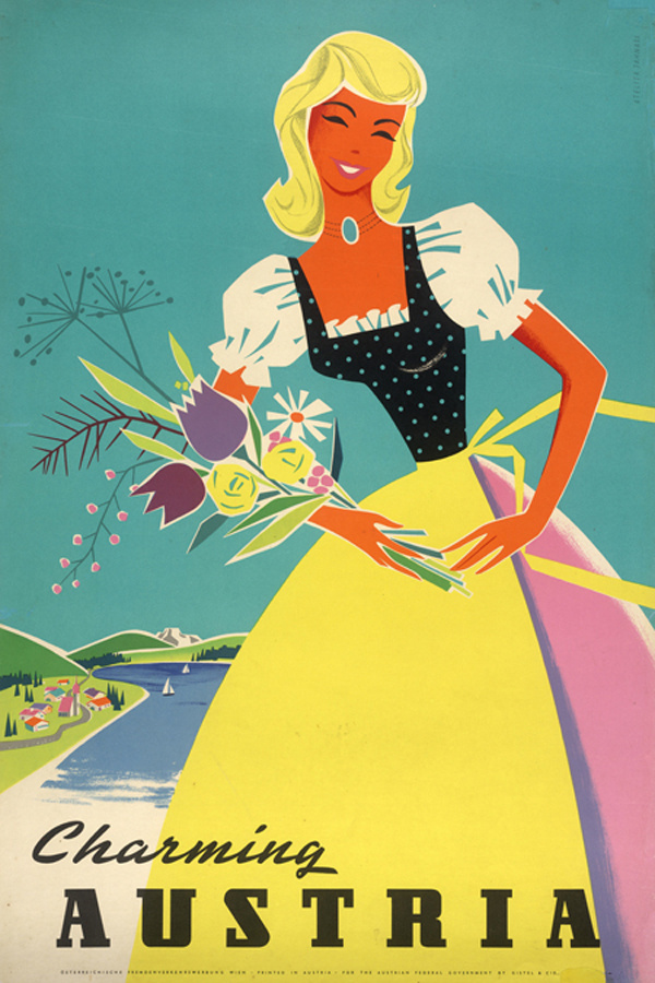 Welcome to Austria vintage travel posters #austria #girl #travel #vintage #poster