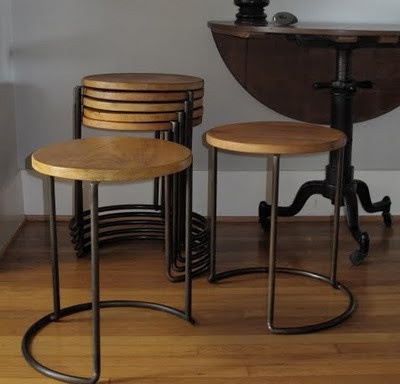 Stackable Stool/End Table #sit #chair #design #stool #wood #wire