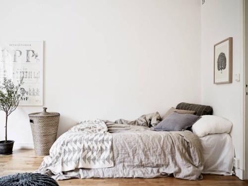 Grey bed cloth #interior #bedding #bedroom #grey