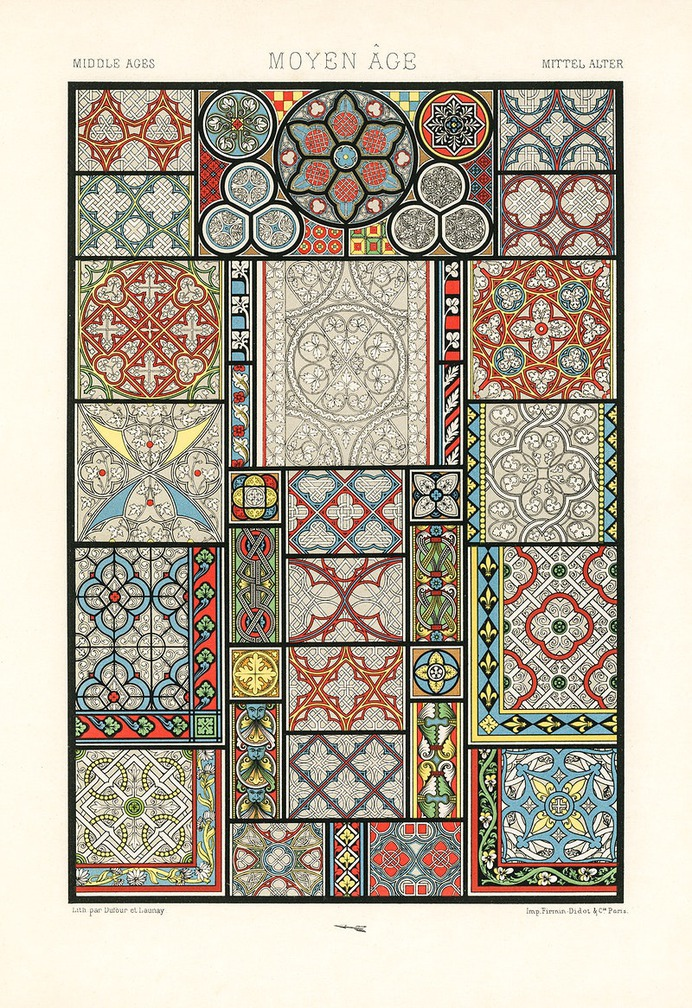 Medieval pattern from L'ornement Polychrome (1888) by Albert Racinet (1825–1893). Digitally enhanced from our own original 1888 edition.