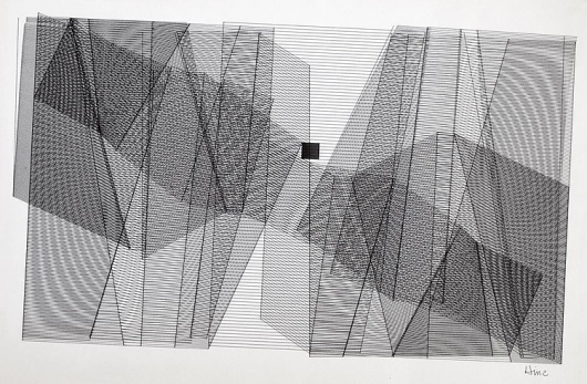 Our lives today are not conducted in linear terms. They are much more... - but does it float #abstract #hinz #bill #geometric #art #drawing