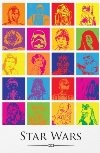Artist Combines The Contemporary And Classic For 'Star Wars' Posters - DesignTAXI.com #pop #color #wars #illustration #star #poster