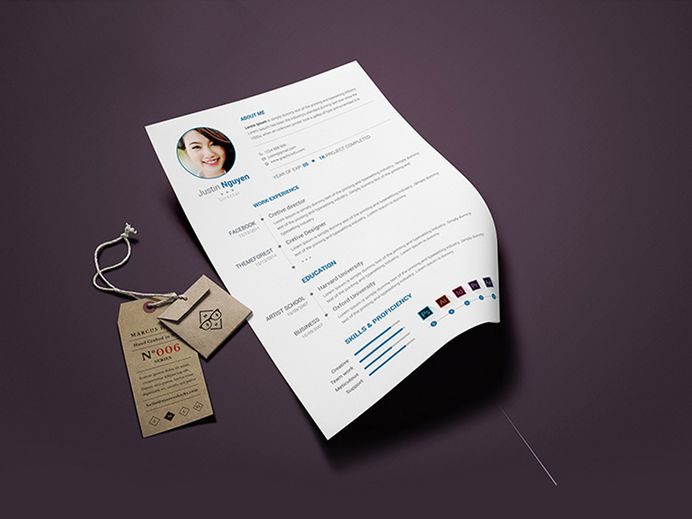 Free Clean Minimalist CV Template in PSD File Format