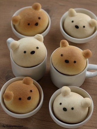 クマちゃんパンレシピ&カフェ風サンドイッチ :: happy rainbow★ #bears #creative #cooking #bread