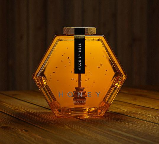 lovely package hexagon honey 1 #bottle #packaging #glass #product #honey #hexagon
