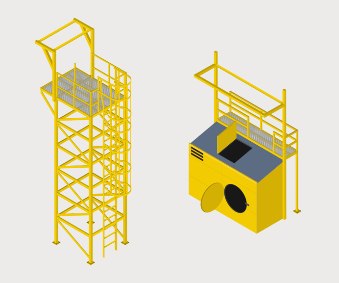 Isometric illustrations for rope access specialists Total Solutions.