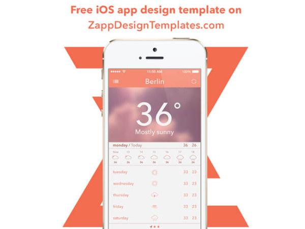 Free Weather App UI PSD for Designer