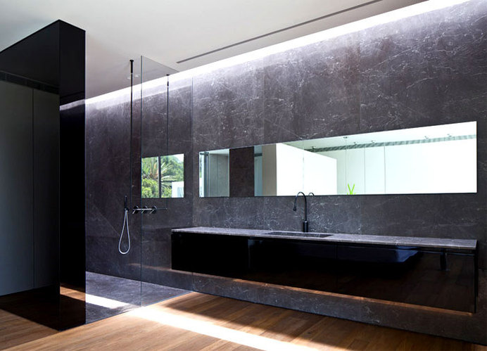 Party House Project by Pitsou Kedem Architects stylish black gray base bathroom #interior #bath #design #bathroom