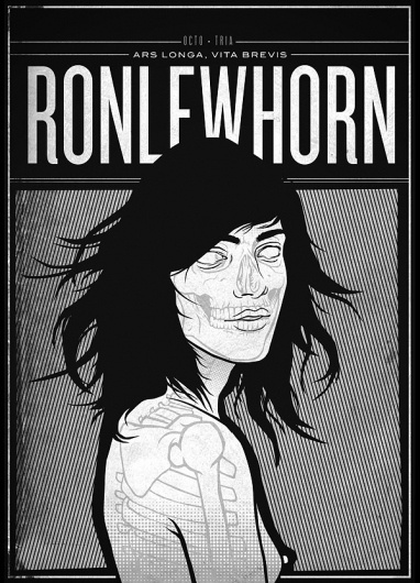 RONLEWHORN #skeleton #grunge #girl #print #illustration #portrait #poster #art #naked