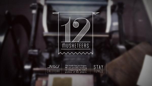 12 Musketeers 2013 Letterpress Calendar #banner #branding #ohio #12 #2013 #calendar #design #letterpress #video #placeholder #logo #musketeers