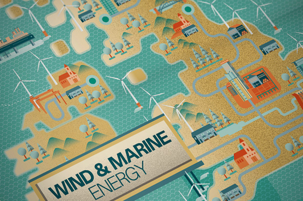 Illustrations: Raconteur covers Q3 Q4 2012 on Behance #earth #illustration #wind #energy