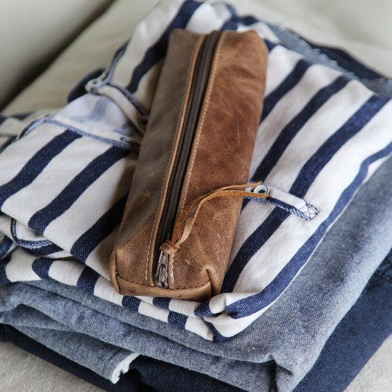 Leather Pencil Case // Zipper Pouch #case #pencil