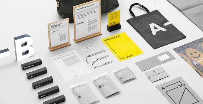 A–TO–B stop shop logo logotype typography design designer minimal beautiful business card print bag grey black yellow mindsparkle mag