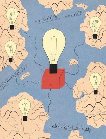 Philippe Weisbecker | Riley Illustration #map #lightbulb