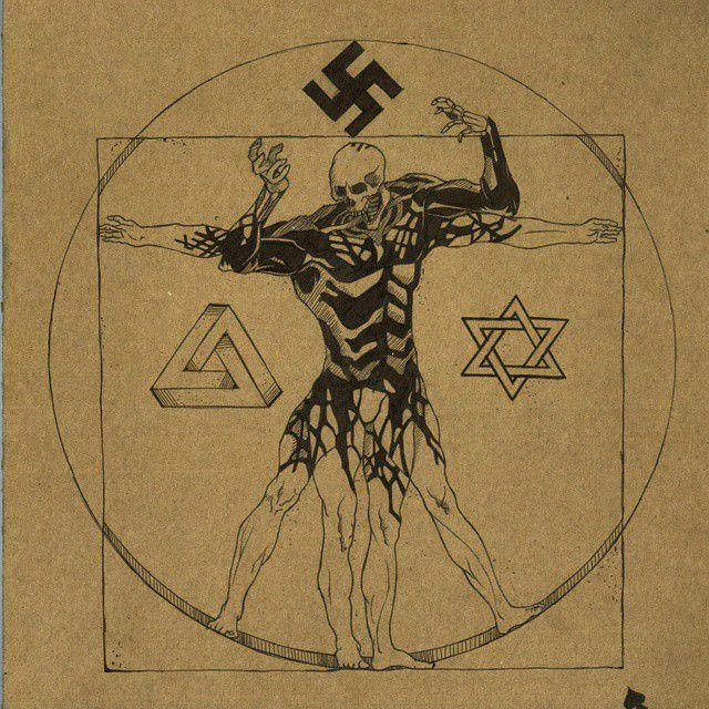 Nazi experiment!? #allhellbreaksloose #cardboard #sketch #sketches #skull #vitruvianman #concept #art #nazi #jew #impossibletriangle #blackandwhite #b/w