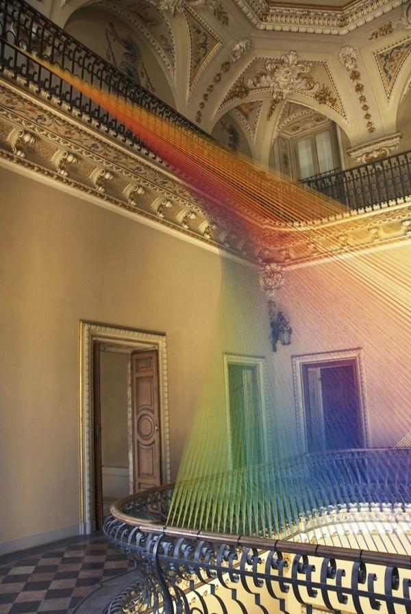 CJWHO ™ (Plexus No 19 by Gabriel Dawe The artist Gabriel...) #dawe #gabriel #installation #design #interiors #colors #art #italy