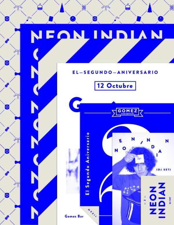 GOMEZ BAR #bar #flyer #indian #neon #gomez