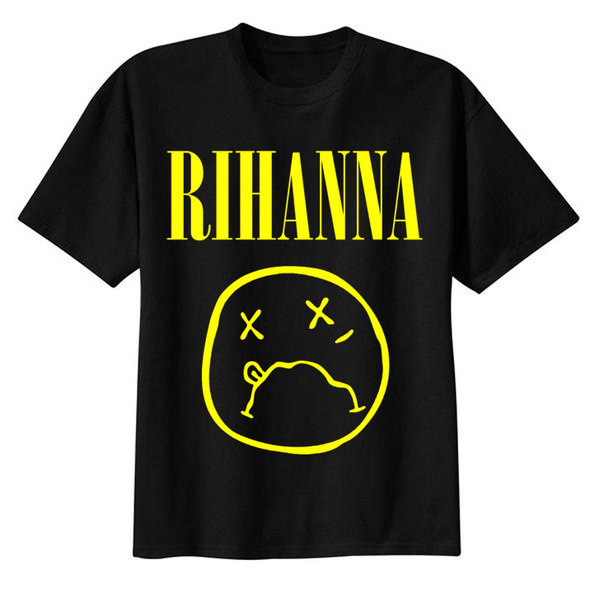 Image of RiRi :( T shirt #yellow #nirvana #black #shirt #illustration #rihanna