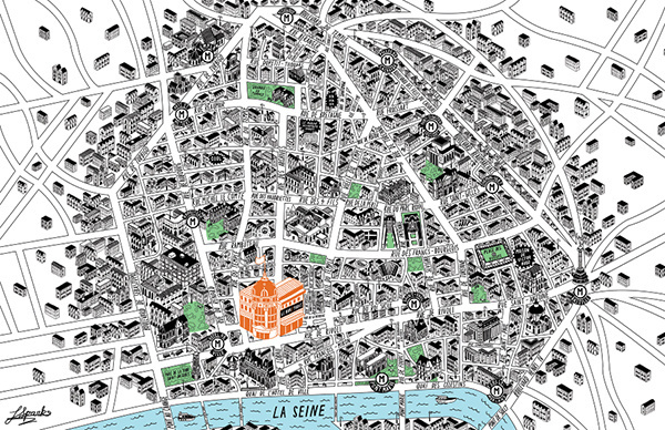 Map of Le Marais area Paris #paris #france #design #map #illustration #art
