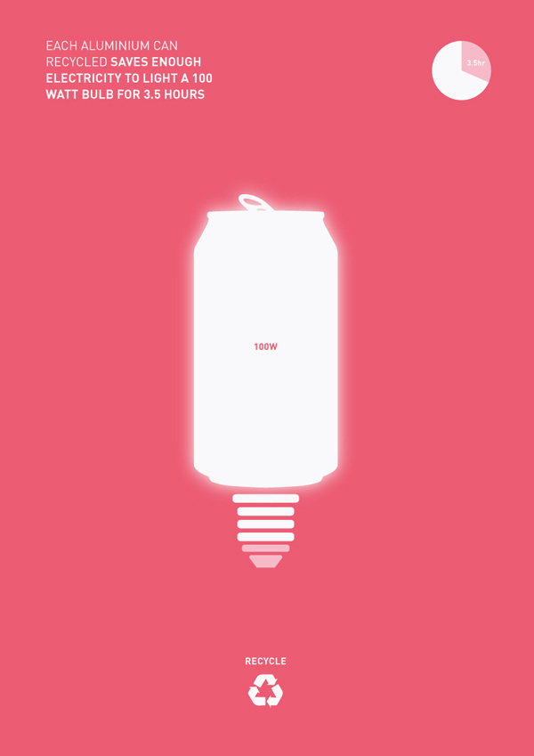 Recycling #design #minimal #poster #energy #recycle #graphic #pink #world #recycling #can #change #walsh