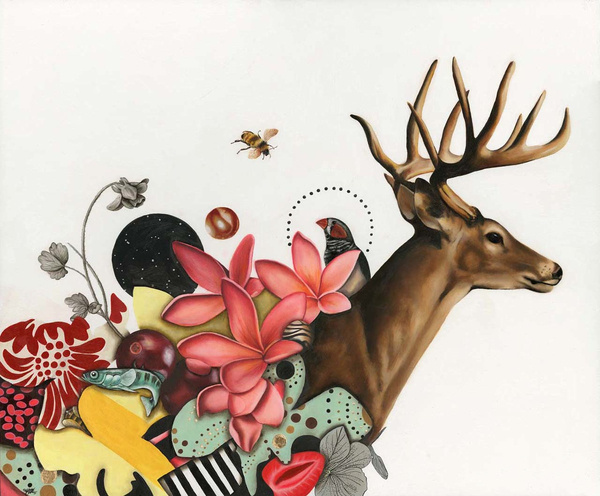 Paintings by Kelly Allen #antlers #deer #stag #illustration #nature #painting #collage #flowers