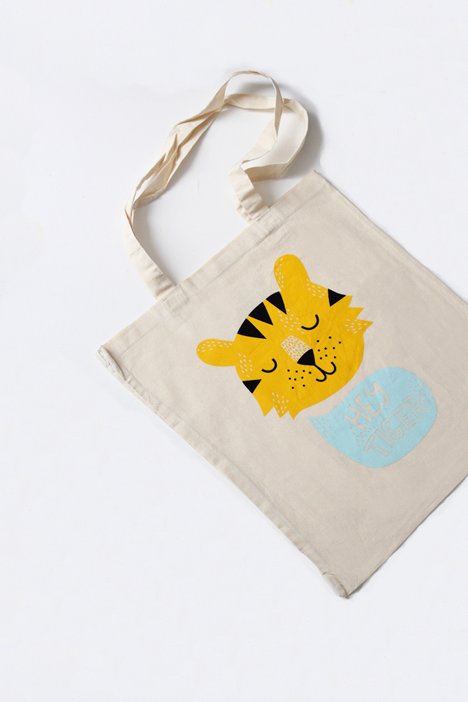 #nordic #design #graphic #illustration #danish #bright #simple #nordicliving #living #interior #kids #room #tote #bag #tiger #hey #yellow