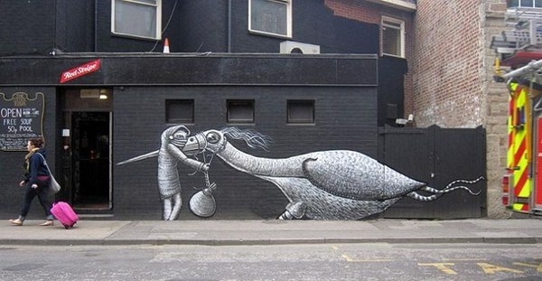 Black and white street art #abstract #surrealism #art #street #surreal