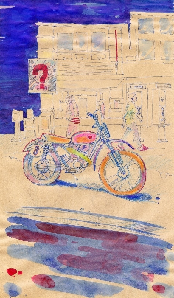 red ink on paper #ink #moto #motorcycle #artwork #drawn #street #watercolor #hand #sketch