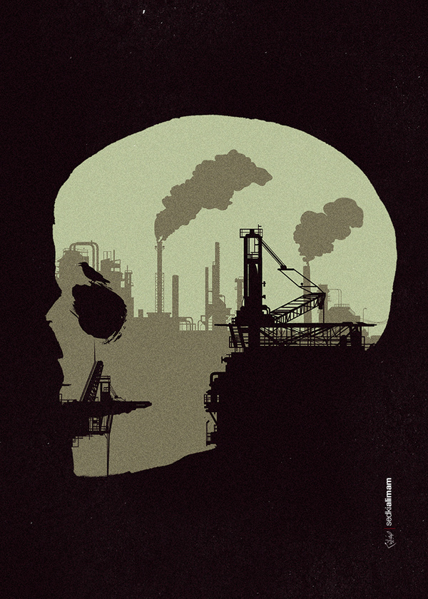 Life sucksTumblr Facebook #darkness #illustration #industry #silhouette #skull #death #pollution