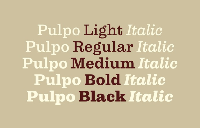 Pulpo Typeface - Mindsparkle Mag Felix Braden designed Pulpo – a friendly and comfortable looking Clarendon ideally suited for editorial, advertising and packaging as well as web and app design. #typeface #typography #logo #packaging #identity #branding #design #color #photography #graphic #design #gallery #blog #project #mindsparkle #mag #beautiful #portfolio #designer
